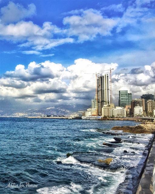 My beautiful city ❤️ love sea ocean waves rocks ripples clouds ... (Ain El Mreisse, Beyrouth, Lebanon)