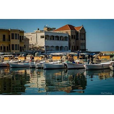 boats harbor house sea deck sun sky buildings tyre livelovetyre ... (Tyre, Lebanon)