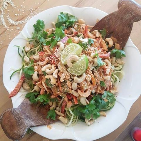 A beautiful plant based healthy raw vegan pad thai salad from my last...