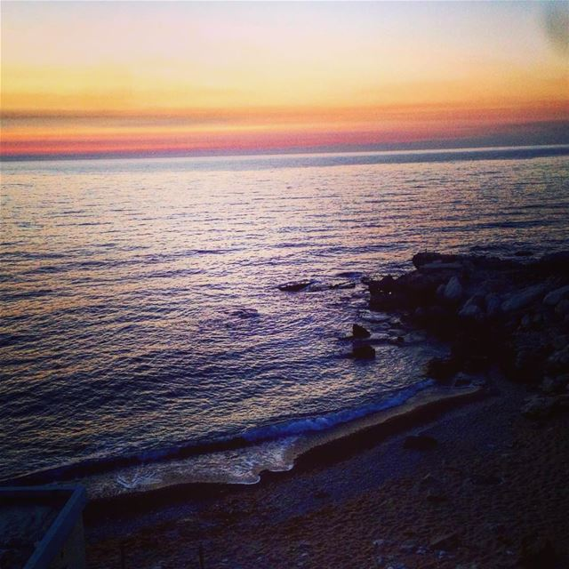 photooftheday  sea  waves  beach  bay  sunset  horizon  walking  withhim ... (Kfarabida Batroun)
