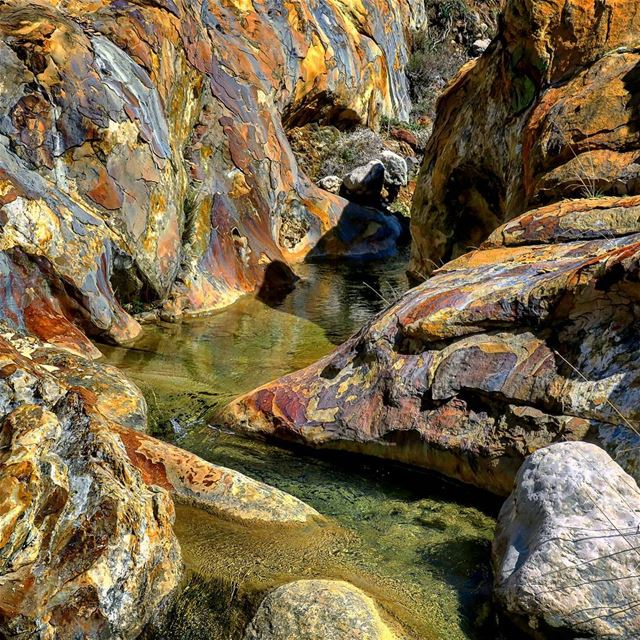 How about a dip? colored rocks clear water stream sand canyon ...