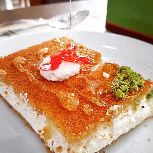Our famous kneffe, made with butter, cheese, pistachios, rose water, sugar... (Beirut, Lebanon)