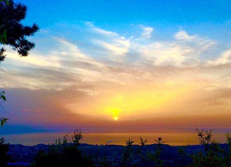 sunset colors sky clouds lebanon sea ...