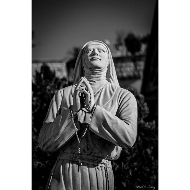 bnw statue rosary religious blackandwhite blackandwhite cross ... (Deir El Amar)
