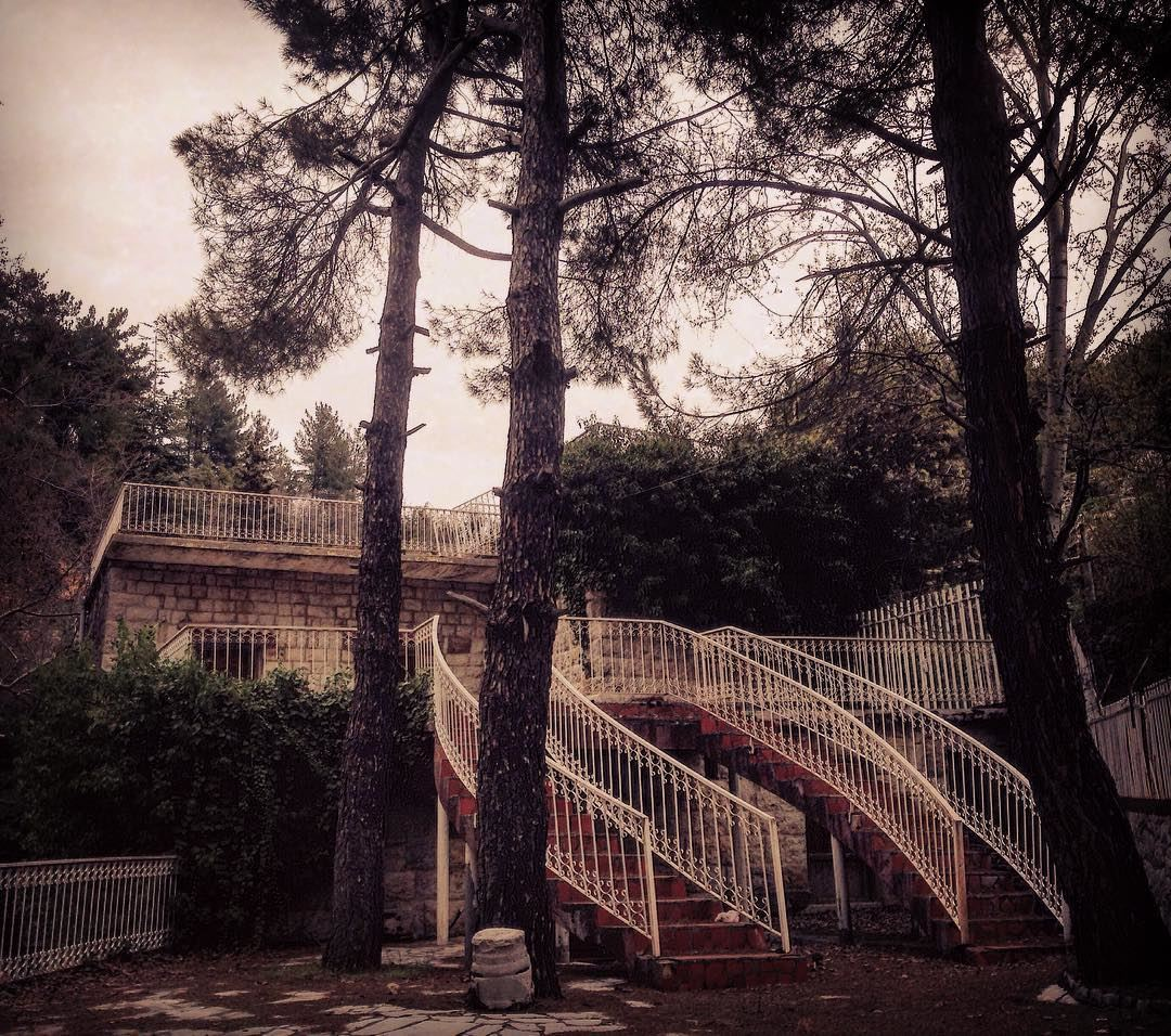 photography house abandonedplaces architecture trees stairs ... (Qnât, Liban-Nord, Lebanon)