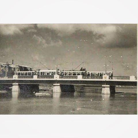 Trams Crossing The Bridge Of Nahr Beirut in 1942 .
