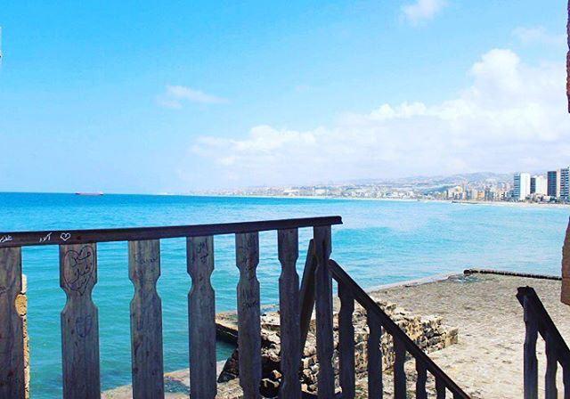meditereansea blue marvelous amazingview oursea lebanon insta_lebanon... (Saïda, Al Janub, Lebanon)