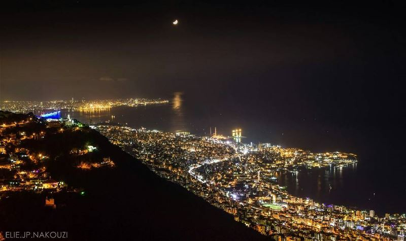 Be the light.. nikon photography night picture mountain city ... (Ghosta, Mont-Liban, Lebanon)