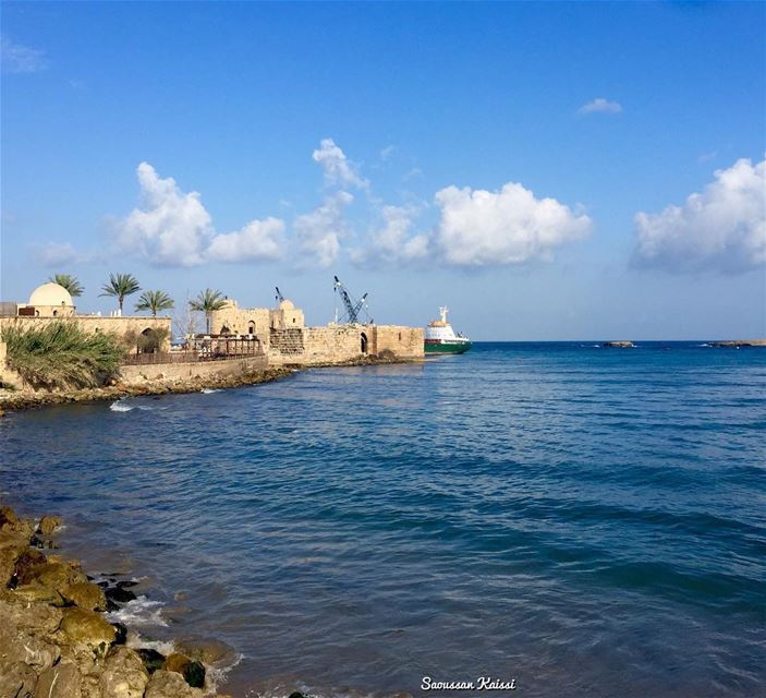 sea  castle  saida  lebanon  blue  nostalgia  old ...