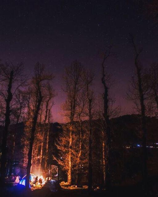 Cold air,dark night,warm fire and bright stars ✨No filter used or needed... (Fnaydek Akkar)