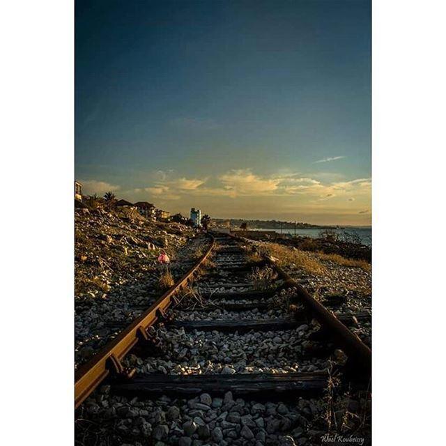 railway rail nature sky clouds stones sea lebanon ig_lebanon ... (Saïda, Al Janub, Lebanon)