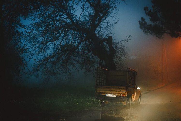 The misty road lebanon ghine fog mist old van lights ride nature ... (Keserwan El Ghine)