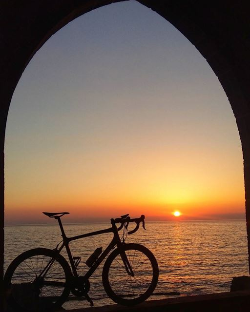 It's the little things in life. 🌅🚴 sunset roadbike mikesport ... (The Phenician Wall - Batroun)