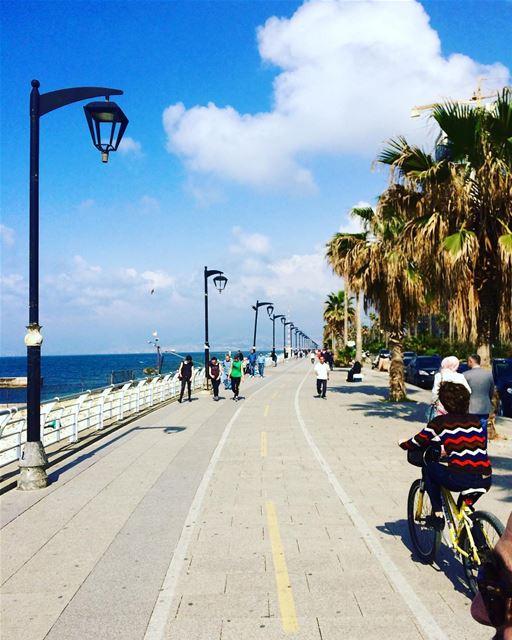 beirutbybike 🚴 Happy Easter!... sunny seaview sunday happy ... (Beirut, Lebanon)