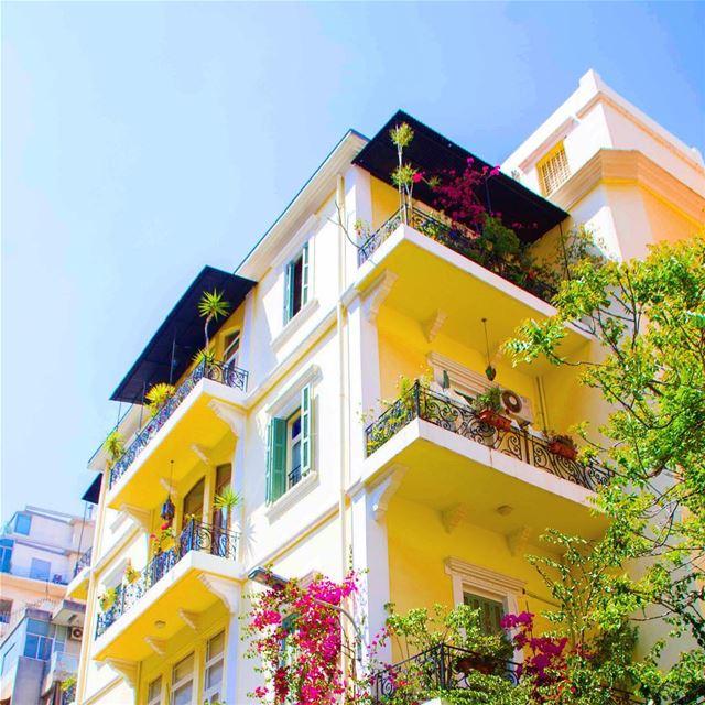 beirut lebanon ashrafieh house yellow spring flowers ...