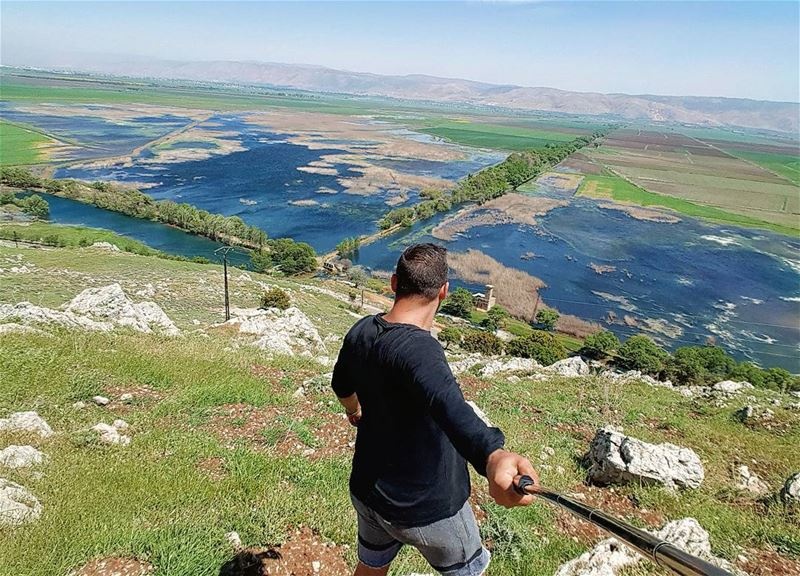 كوكب_عميق sunday funday hiking bekaa selfie valley water lake sky... (`Ammiq, Béqaa, Lebanon)