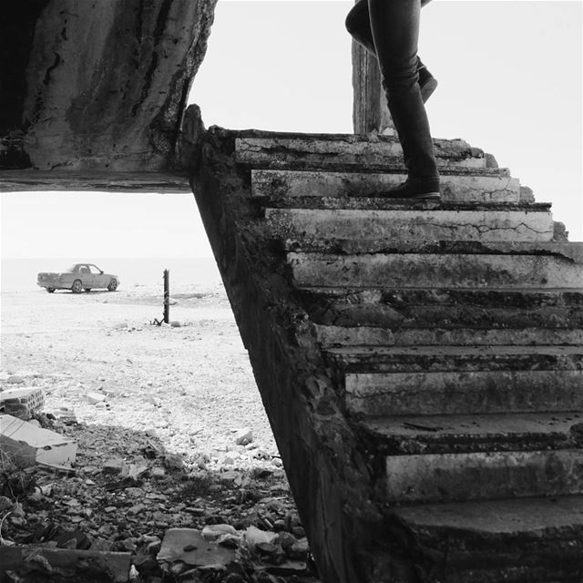 """Take a small step everyday"" bnw  bnw_society  bnw_planet  stairs ... (Hamat)"