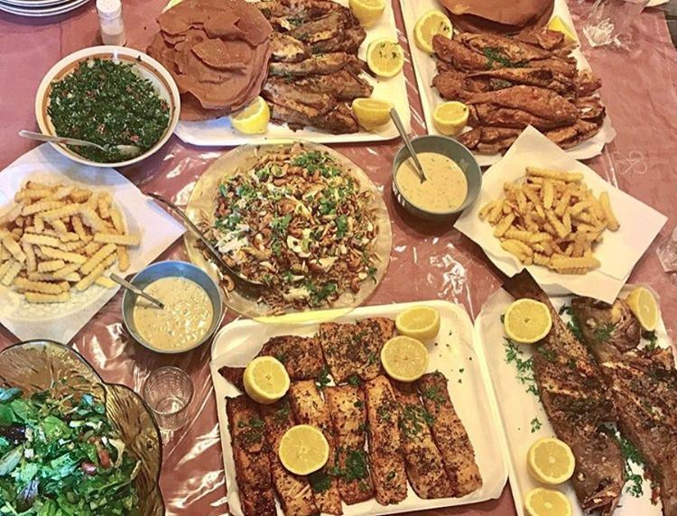 Saturday Lunch 🐟♥️ seafood lebanesefood saumon fish tabouli ...