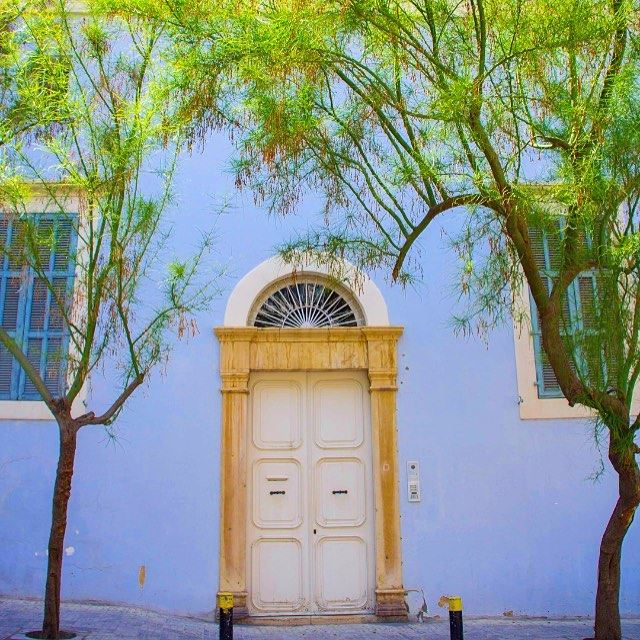 beirut lebanon ashrafieh blue house green tree spring ...