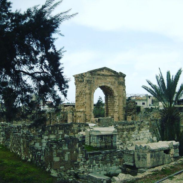 ▶ monument archeology stone history monuments green tree🌳 winter... (Tyre, Lebanon)