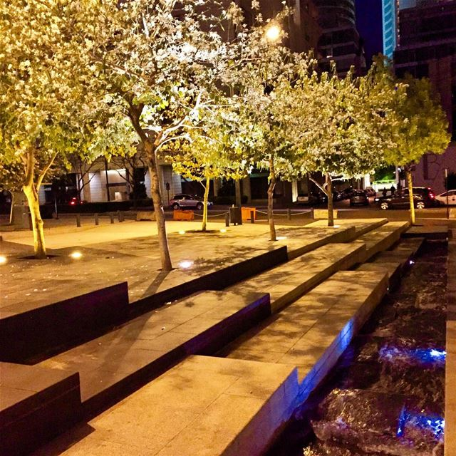 Trees and water canal!  Starco  square  trees  water  beirut  lebanon ... (Beirut, Lebanon)