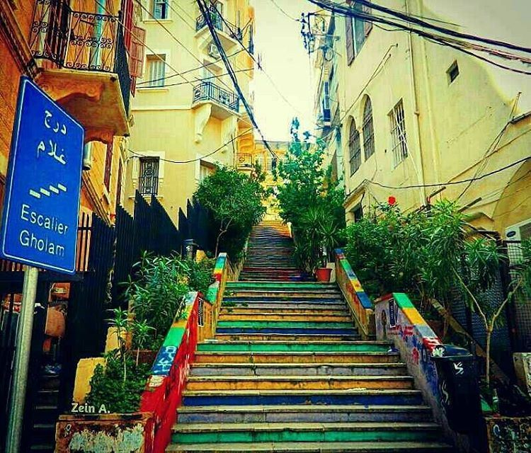 good  morning  escalier  gholam  stairs  sign  travel  tourism  landscape... (Gemmayze)