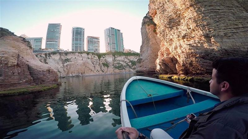 In life we must take adventures in order to know were we truly belong 🚣🏻... (Pigeon Rock Beirut.)