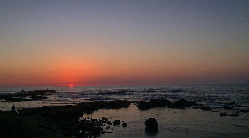 tyre sunset sea water blue sky waves sour lebanon livelovetyre tyrepage... (Al Kharab Beach)