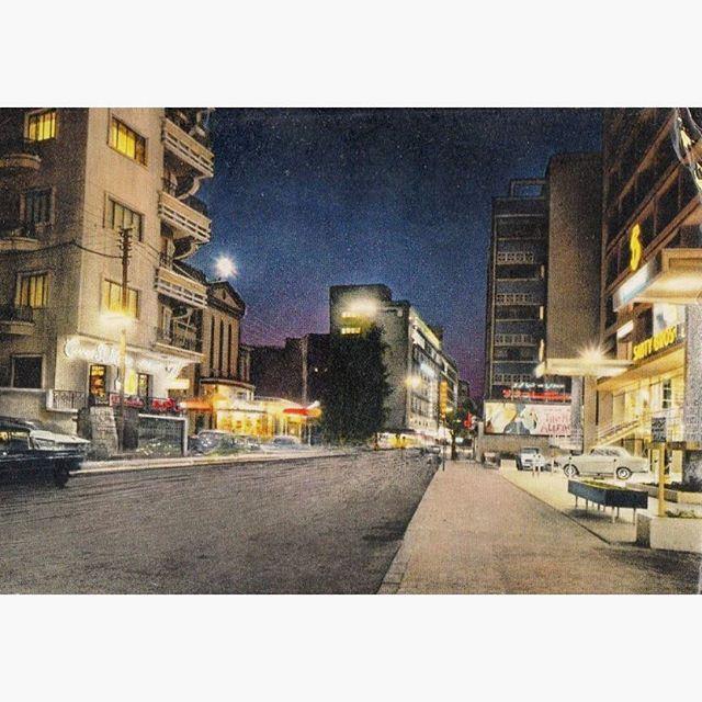 بيروت شارع الحمرا ليلاً عام ١٩٦٧ ،