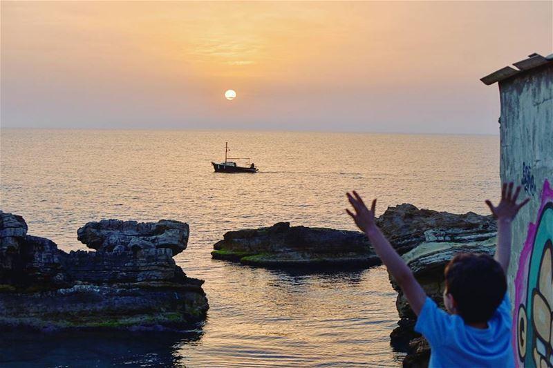 Sunset on flat waters .. lebanon kfarabida sunset ig_lebanon ...