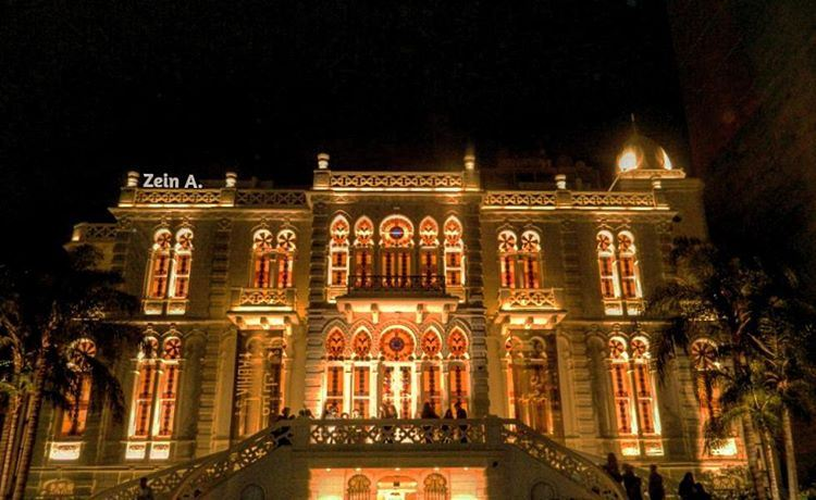 Sursock museum🏰 good evening sursock museum architecture light ... (Sursock Museum)