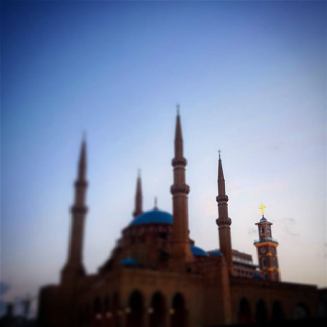 Four minarets and a church bell beirut sunset travel lebanon liban ... (Martyrs' Square, Beirut)