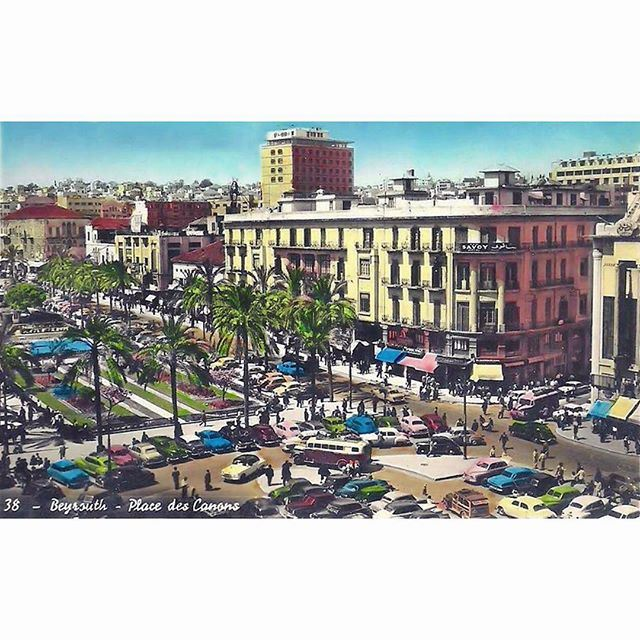 صباح الخير من وسط بيروت ساحة الشهداء عام ١٩٥٥ ،