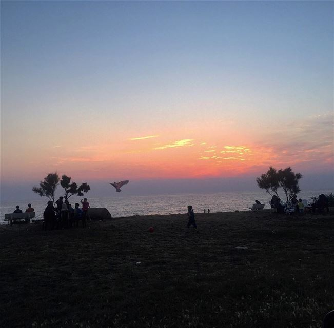 sunset tyre sour sea sky seats lebanon insta_lebanon lebanonspotlights... (Al Kharab Beach)