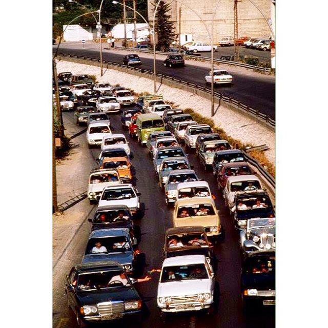 May 1987 , Traffic returning from the Beach in East Beirut Near Jounieh .