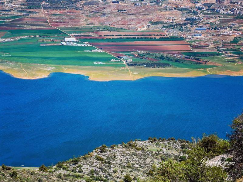 west bekaa karaoun lake... bleu water green area lebanon ...