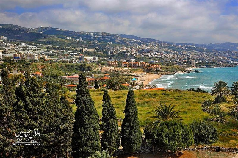 Byblos' public beach is seen from the ancient city of Byblos, north of...