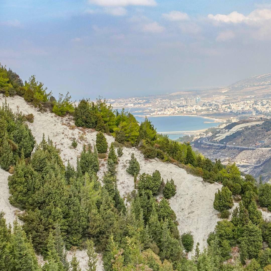White rocky clifs of Ras Chekka near the sea, in northern Lebanon... (Hamat)