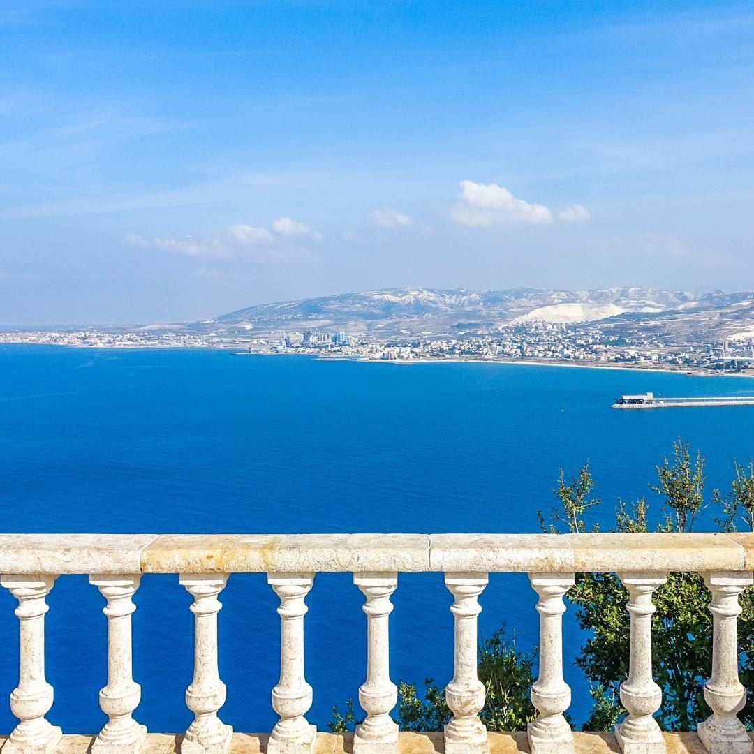 Blue sea, white marbel. View from Saydet El Nourish, monastery. Which sits... (Saydet El Nourieh)