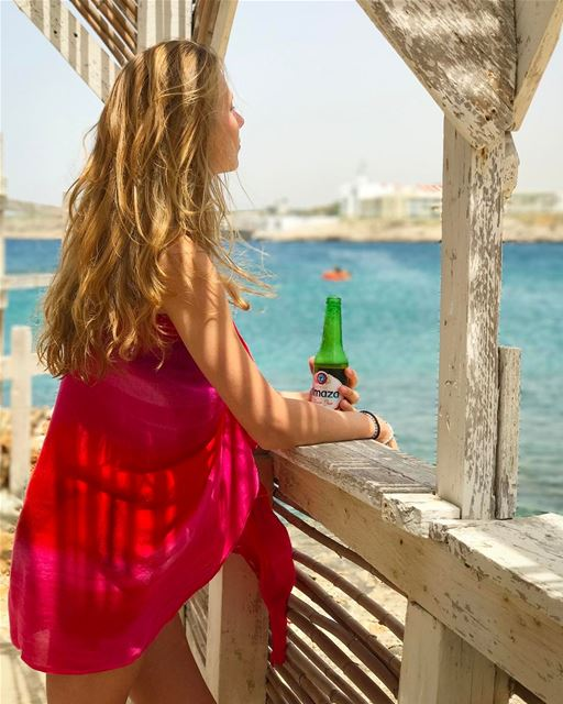 Sunday  beach therapy 🍺 When France meets  Almaza ... (Anfeh, Lebanon)