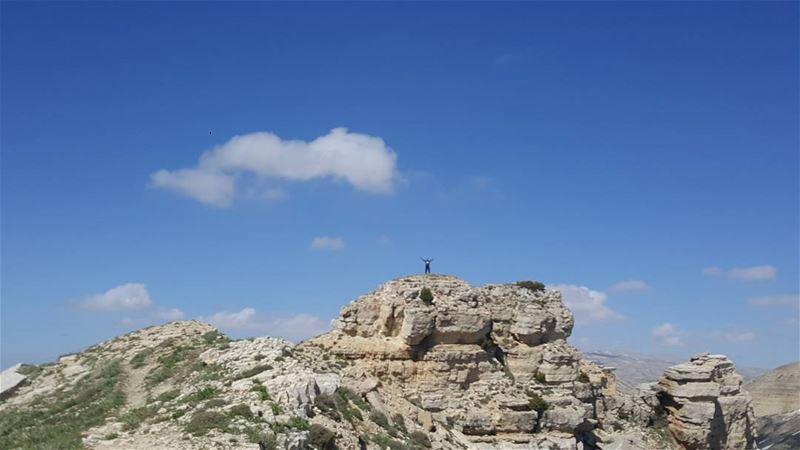 Spot the climber climbing rock moutains bluesky hiking ...