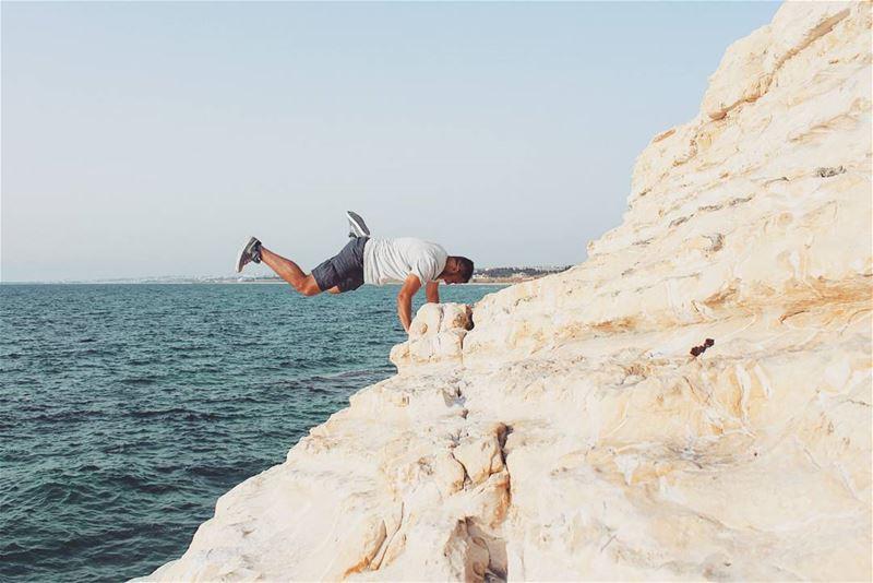 tb bayyada southlebanon jump rock beach fun summer fun sky ... (El Bayâda, Al Janub, Lebanon)