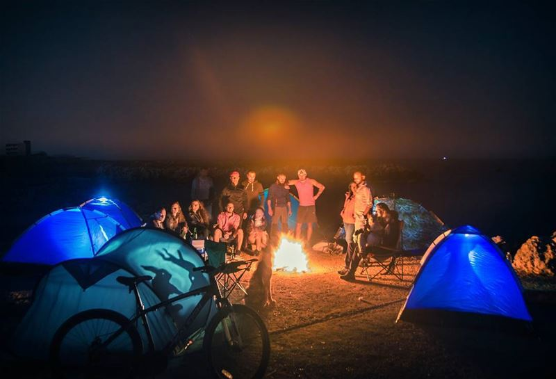 🔥⛺..... camping camp fire campfire tents beachcamp beach oceon... (Chekka)