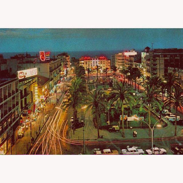 بيروت ساحة الشهداء ليلاً عام ١٩٦٩ ،