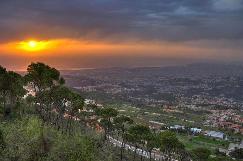 sunset aley sunshine landscape nature lebanon_hdr lebanonspotlights... (Aley)