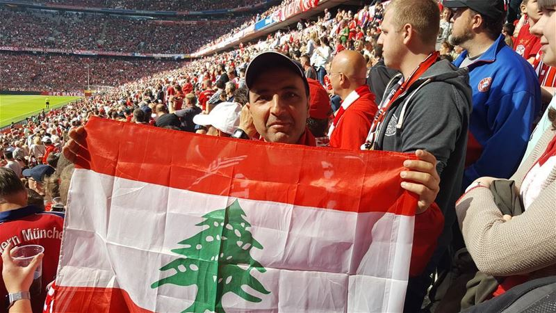 allianzarenamünchen bayern fan fcb bayernmunich flag lebanon red ... (Allianz Arena)