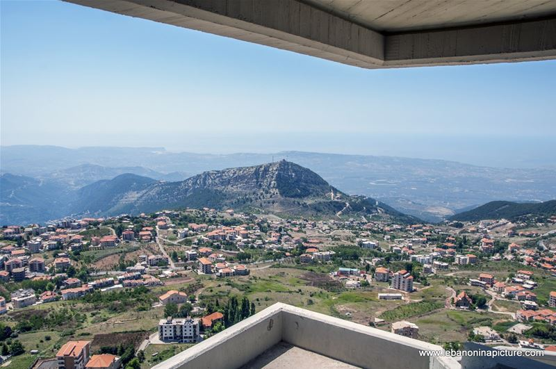 A Beautiful View Of Ehden and The Surrounding Landscape till the Mediterranean and Chekka Beach (Saydet El Hosn, Ehden, North Lebanon)