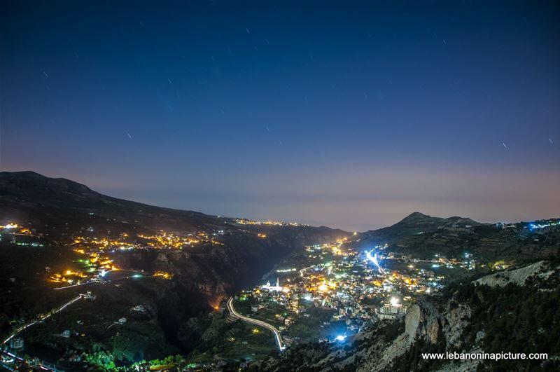 Bcharri and Wadi Qannoubine at Night