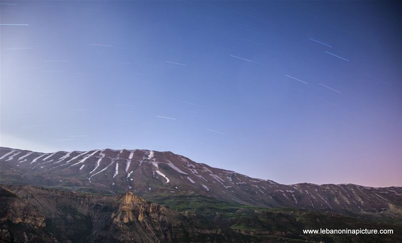 The Northern Lebanese Mountain With the Visible Star Trail