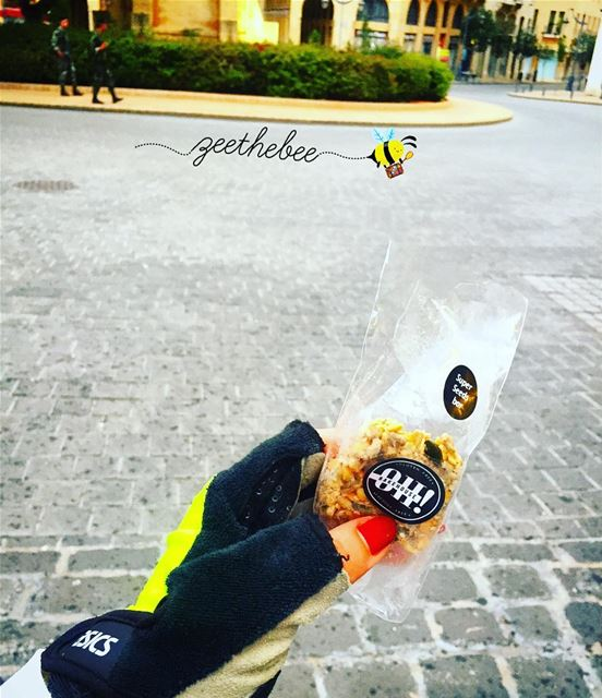 Finishing my morning Jog with a Super Seeds bar from @ohbakehouse ..... (Downtown Beirut)